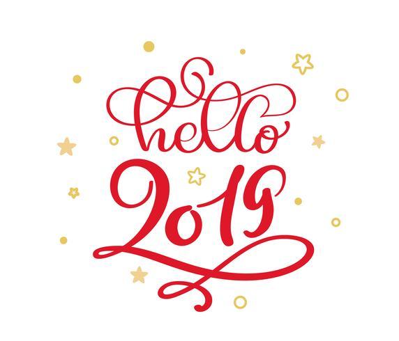Olá 2019 texto de vetor de rotulação de caligrafia vintage vermelho Natal com floreio de inverno caligráfico e elementos de estrelas escandinavas de ouro. Para design de arte, estilo de brochura de maquete
