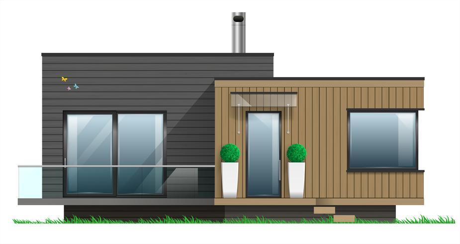 Fachada, de, um, casa moderna, com, um, terraço vetor