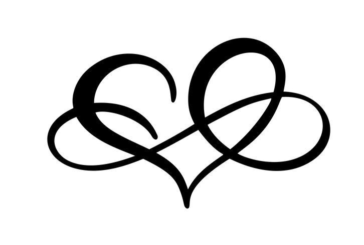 Amo o coração com sinal de infinito. Ícone para cartão ou casamento, dia dos namorados, tatuagem, impressão. Vector caligrafia ilustração isolado em um fundo branco