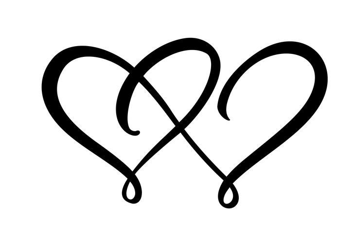 Dois sinais de coração de amor. Romântico. Vector o símbolo do ícone da ilustração - junte-se o dia e o casamento de Valentim. Modelo para t-shirt, cartão, cartaz. Elemento plano de design