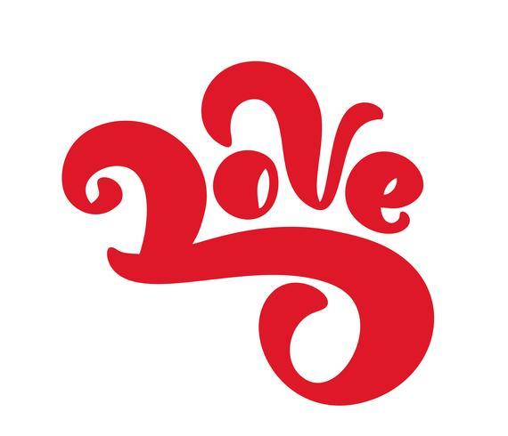 Vermelho amor manuscritas vector tinta letras dos namorados conceito. Caligrafia de mão desenhada escova moderna. Isolado no fundo branco, Design ilustração para cartão de felicitações, casamento, dia dos namorados, imprimir