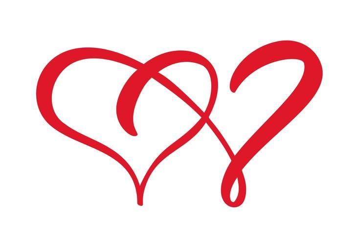 Dois sinais de coração de amor. Romântico. Vector o símbolo do ícone da ilustração - junte-se à paixão e ao casamento. Modelo para t-shirt, cartão, cartaz. Elemento de design plano dia dos namorados