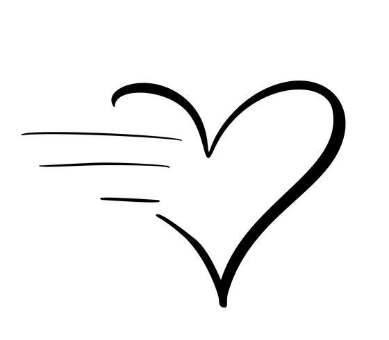 Ícone de coração adorável caligrafia com efeito de alta velocidade. Projeto de dia dos namorados de ilustração vetorial para abstrato moderno com símbolos de velocidade, apressar a energia de progresso vetor