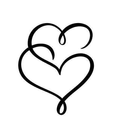 Dois sinais de coração de amor. Romântico. Vector o símbolo do ícone do dia de Valentim da ilustração - junte-se à paixão e ao casamento. Modelo para t-shirt, cartão, cartaz. Elemento plano de design
