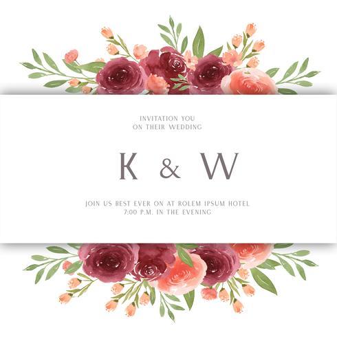 Aquarela floral com borda de quadro de texto, exuberante aquarelle flores pintados à mão isolado no fundo branco. Design de flores decoração para cartão, salvar a data, cartões de convite de casamento, cartaz, banner. vetor