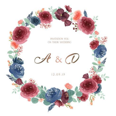 Flores da aguarela das grinaldas pintados à mão com beira do quadro de texto, aquarelle floral luxúria isolado no fundo branco. Design de decoração para cartão, salvar a data, cartões de convite de casamento, cartaz, banner. vetor