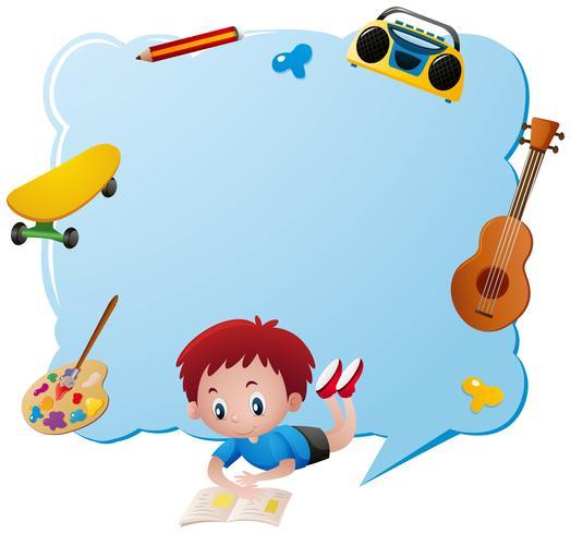 Modelo de fronteira com objetos de menino e escola vetor