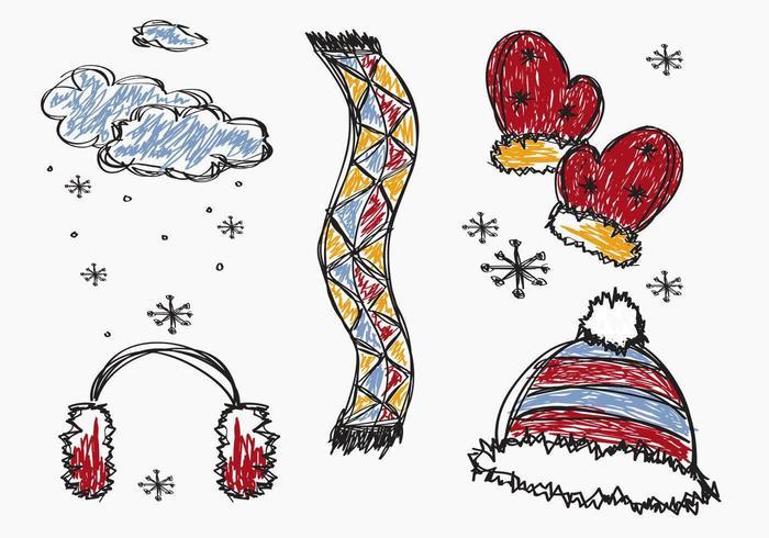 Pacote de vetores de inverno esboçado