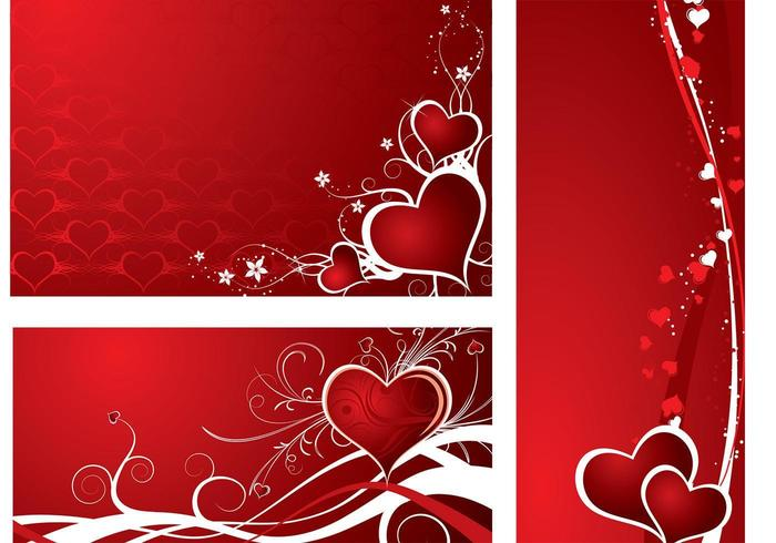 Pacote de vetores de papel de parede Holiday Hearts