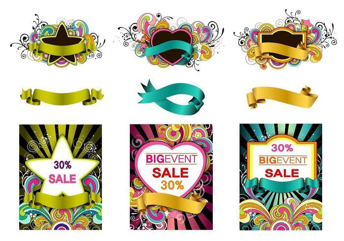 Pacote de Banner Swirly Vector colorido
