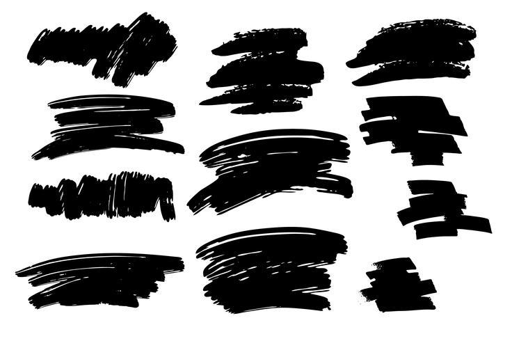 Conjunto de traçado de pincel preto e textura. Elemento pintado à mão abstrato do vetor de Grunge. Lugar para texto