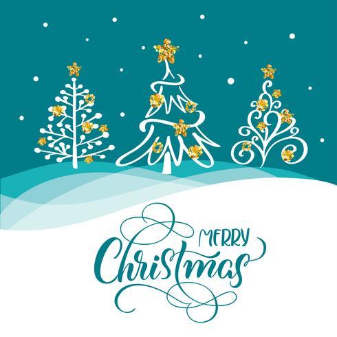 Mão desenhada letras de caligrafia texto feliz Natal em um cartão postal com três árvores de Natal e estrelas douradas vetor