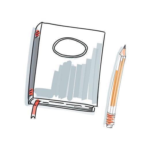 Doodle de caderno, mão de desenho primitivo. Caneta e papel de caderno. arte moderna do esboço do minimalismo. Ilustração vetorial vetor