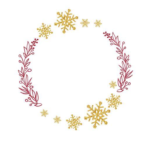 grinalda vermelha com galhos de árvores e flocos de neve de ouro. Ilustração vetorial vetor