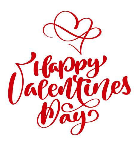 cartaz vermelho feliz da tipografia do dia de Valentim com texto escrito à mão da caligrafia, isolado no fundo branco. Ilustração vetorial vetor