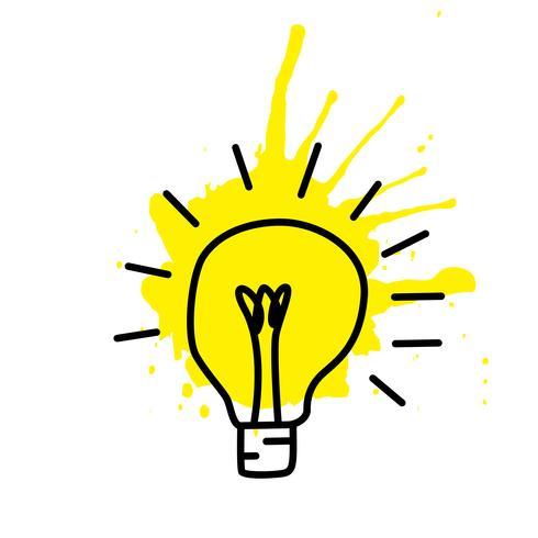Esboço de lâmpada com conceito de idéia. Doodle desenhado à mão sinal. Ilustração vetorial vetor