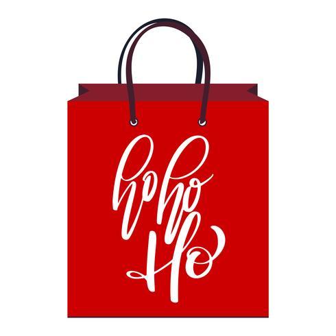 texto Ho-ho-ho mão escrita letras de caligrafia no pacote vermelho. ilustração vetorial artesanal. Tipografia de tinta pincel divertido para sobreposições de foto, saco, impressão de t-shirt, panfleto, design de cartaz vetor