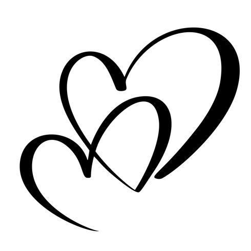 Coração de dois amantes. Caligrafia artesanal vector. Decoração para cartão, caneca, sobreposições de foto, impressão de t-shirt, panfleto, design de cartaz vetor