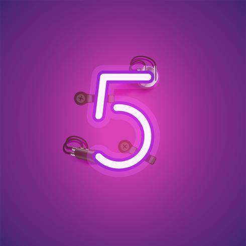 Personagem de néon realista rosa com fios e console de um fontset, ilustração vetorial vetor