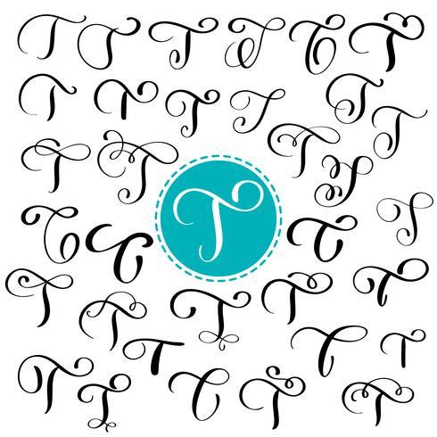 Definir a letra T. Caligrafia de floreio de vetor de mão desenhada. Fonte de script. Letras isoladas escritas com tinta. Estilo de pincel manuscrito. Letras de mão para cartaz de design de embalagem de logotipos