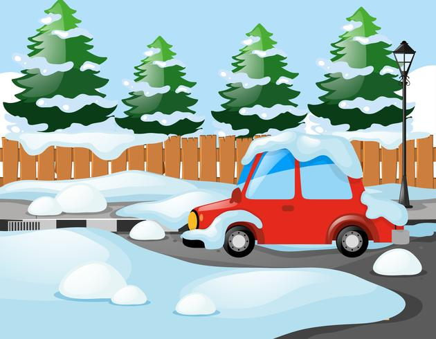 Cena de bairro com carro vermelho coberto de neve vetor