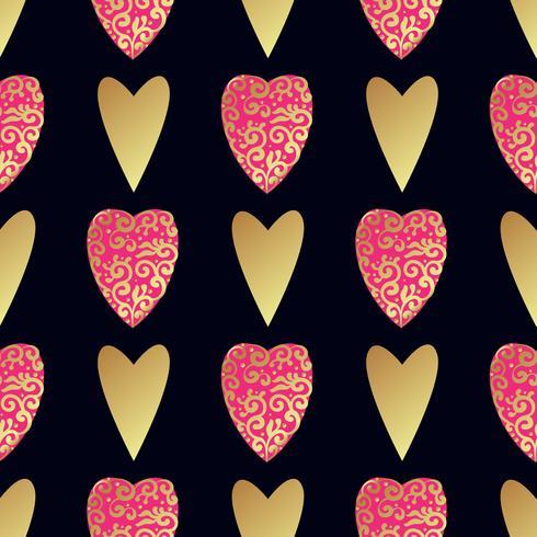 Padrão de ouro sem costura com corações. vetor