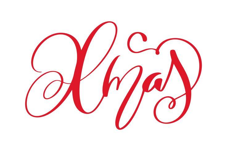 palavra de rotulação de caligrafia de Natal. Feriados de Natal e ano novo. Ilustração vetorial EPS. Decoração para cartão vetor