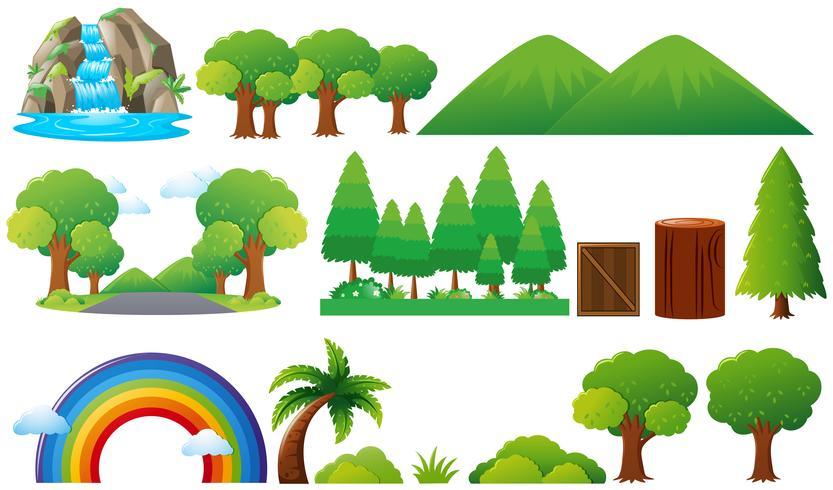 Conjunto de árvores e montanhas vetor