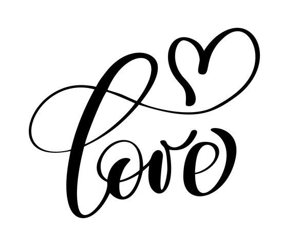inscrição manuscrita amor e coração feliz dia dos namorados cartão, citação romântica para design cartões, tatuagem, convites de férias vetor