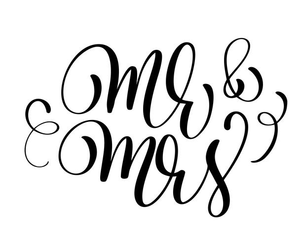 O Sr. e a Sra. Texto sobre fundo branco. Mão desenhada caligrafia casamento letras ilustração vetorial vetor