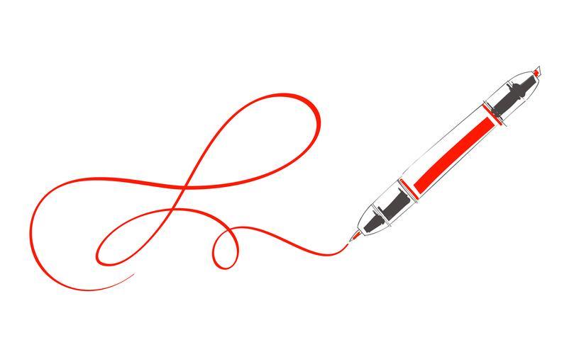 Sketch doodles caneta de marcação à prova d'água. Ilustração em vetor caneta marcador pincel