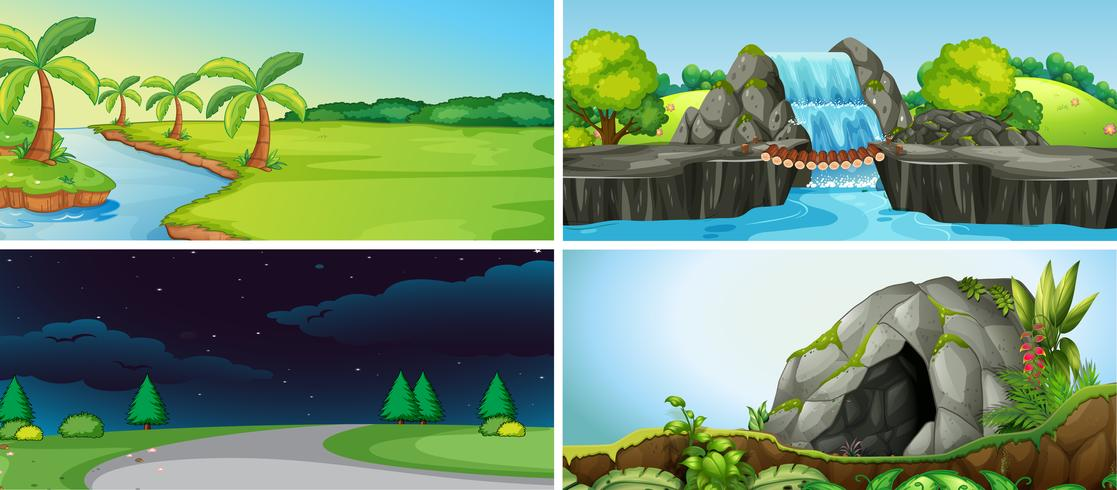 Conjunto de paisagem natural vetor