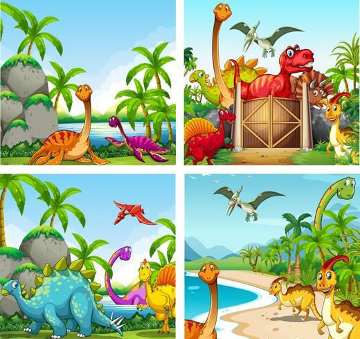 Quatro cenas de dinossauros no parque vetor
