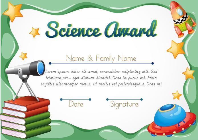 Certificado com objetos de ciência no fundo vetor