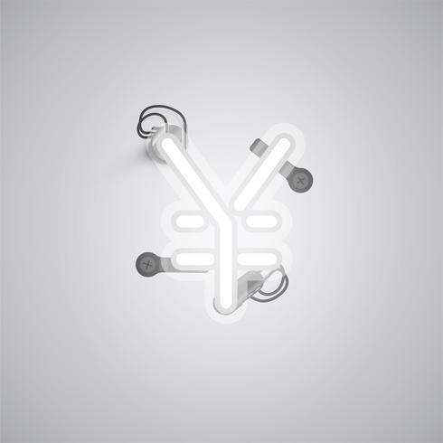 Personagem de néon realista cinza com fios e console de um fontset, ilustração vetorial vetor
