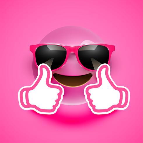 Emoticon realista com óculos de sol e polegares para cima, ilustração vetorial vetor