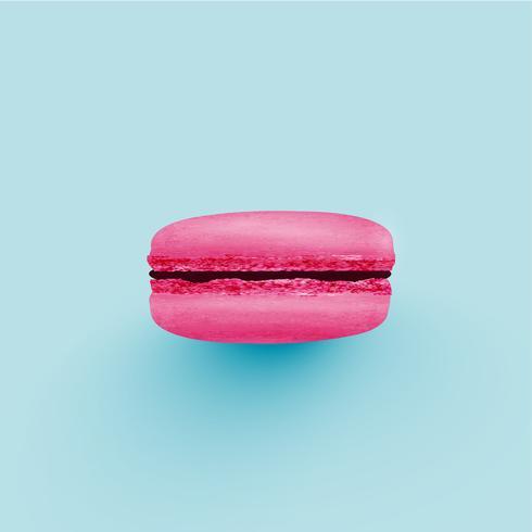 Macaron colorido detalhado alto no fundo azul, ilustração vetorial vetor