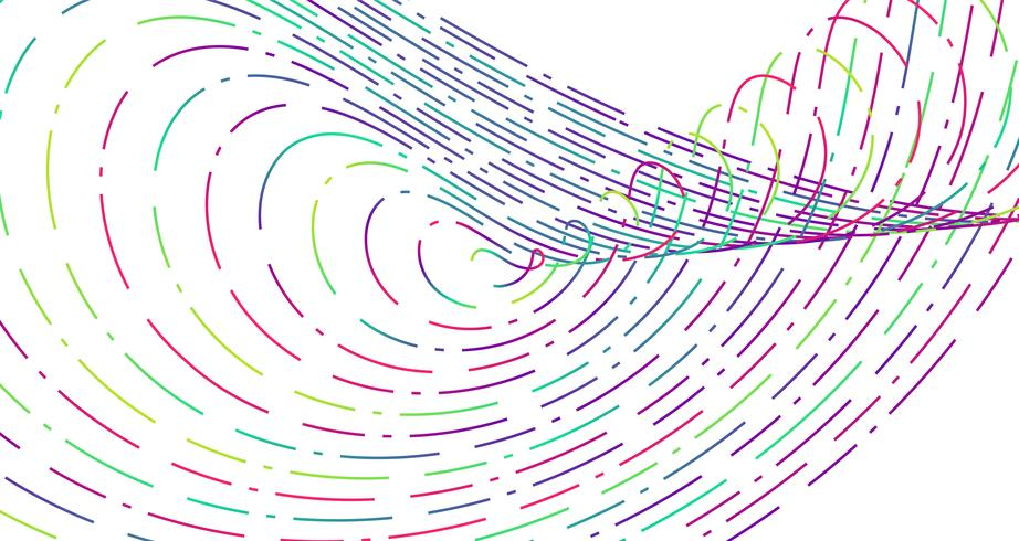Linhas tracejadas de néon colorido, ilustração vetorial vetor