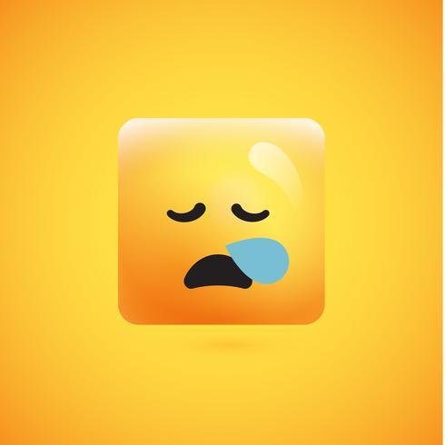 Emoticon amarelo quadrado detalhado alto em um fundo amarelo, ilustração vetorial vetor