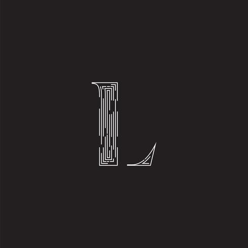 Personagem elegante de um fontset feita por linhas tracejadas, ilustração vetorial vetor