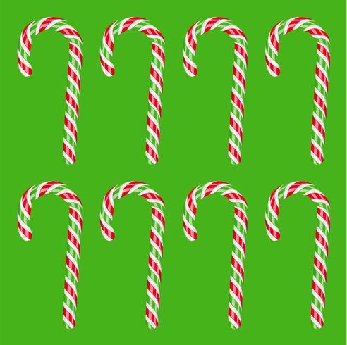 Bastão de doces vermelho e verde detalhada alta, ilustração vetorial vetor