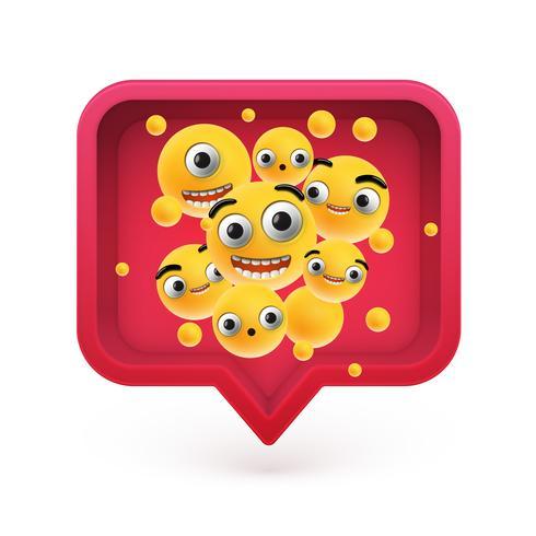 Emoticons altamente detalhados em um balão vermelho 3D, ilustração vetorial vetor