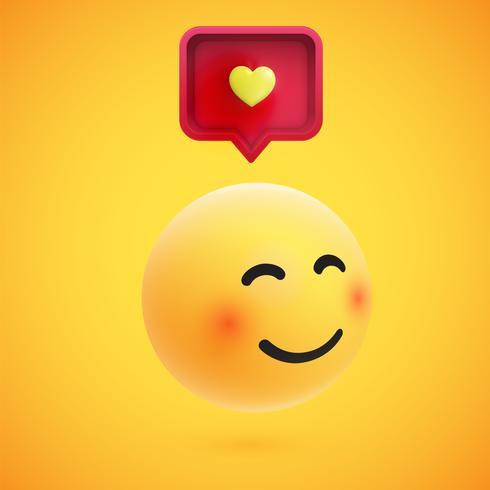 Bonito emoticon 3D alta detalhado amarelo com bolha do discurso e coração para web, ilustração vetorial vetor