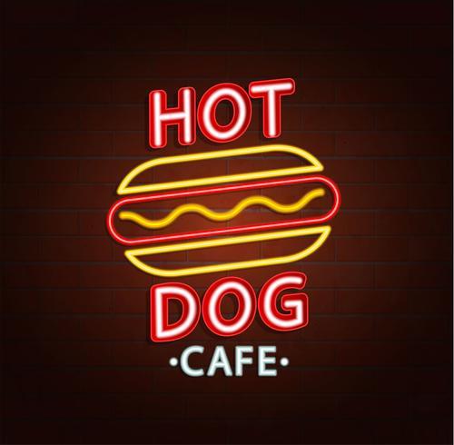 Sinal de néon do café do hamburguer. vetor