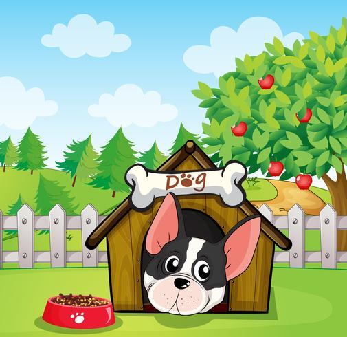 Um cão dentro de uma casa de cachorro em um quintal com uma macieira vetor