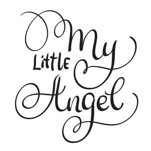 Minhas palavras pequenas do anjo no fundo branco. Mão desenhada caligrafia letras ilustração vetorial Eps10 vetor