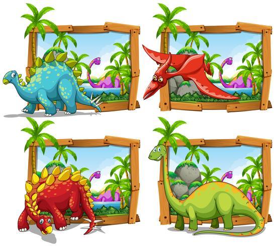 Quatro cenas de dinossauros à beira do lago vetor