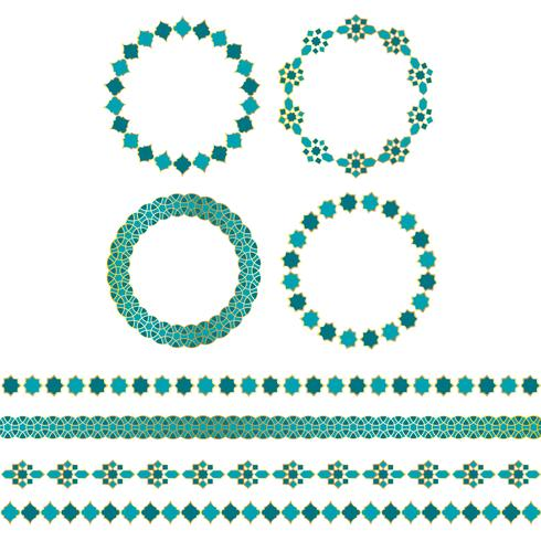 quadros de ouro azul marroquino e padrões de fronteira vetor