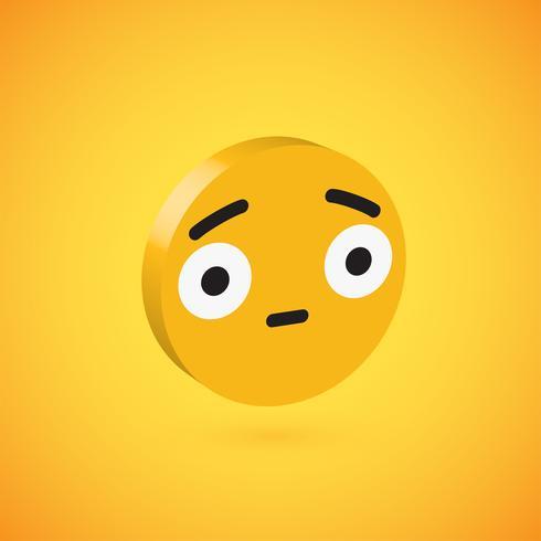 Emoticon de disco 3D alta detalhado amarelo, ilustração vetorial vetor