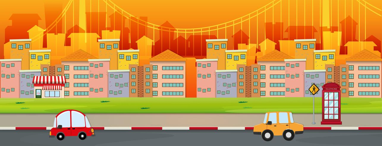 Cena da cidade com edifícios e carros na estrada vetor